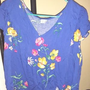 Size Large Blue floral blouse from Old Navy.